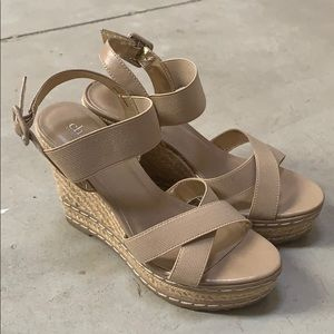Taupe strappy wedges